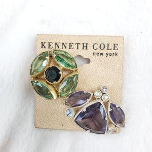Kenneth Cole Lot 2 Rhinestone Pin Back Brooch
